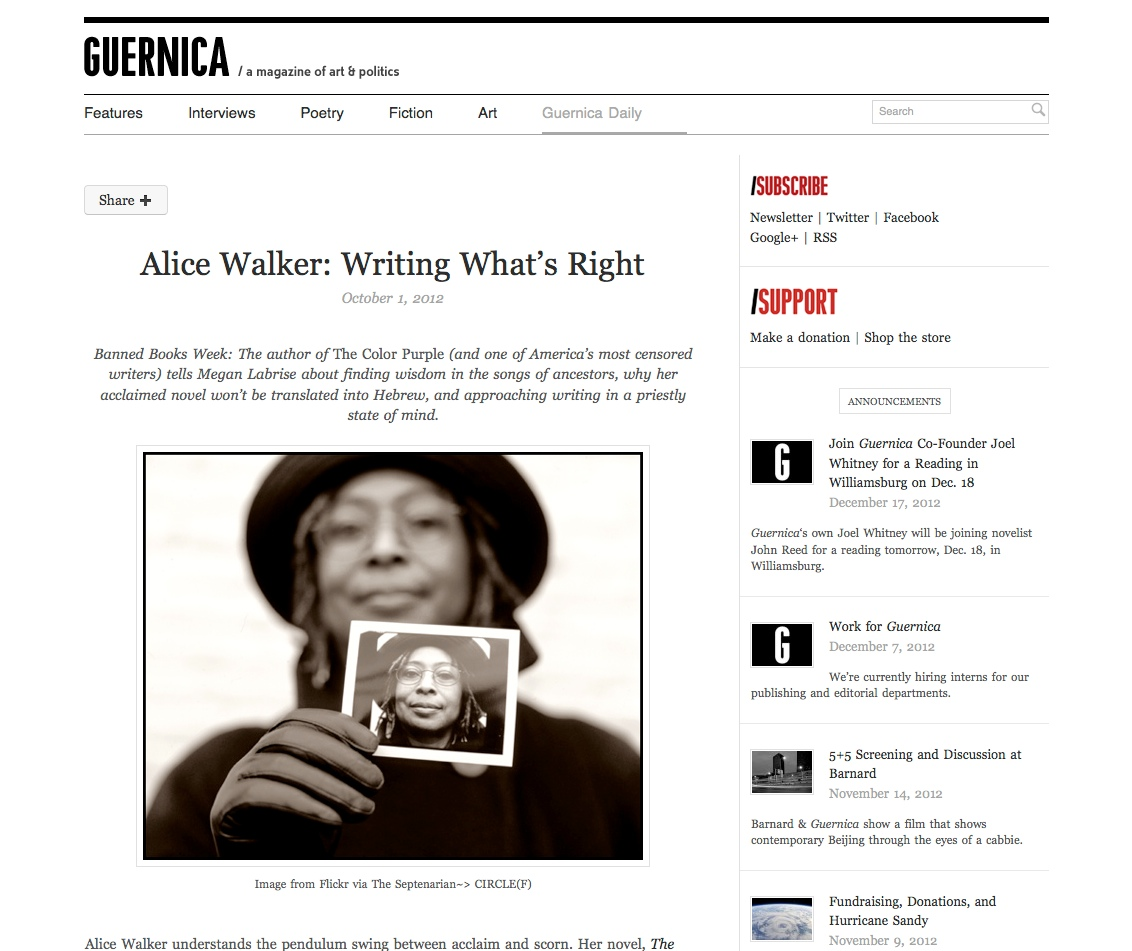 alice walker guernica daily